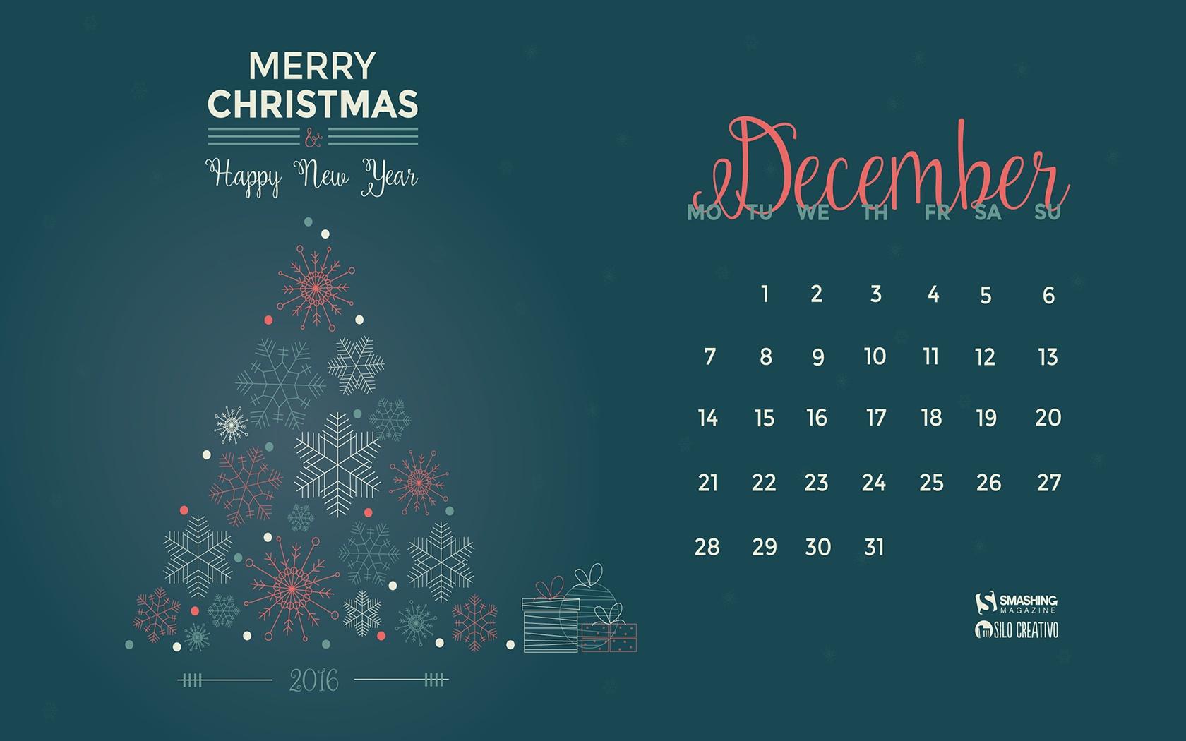 Month calendar Christmas desktop wallpaper 52529   Calendar 1680x1050
