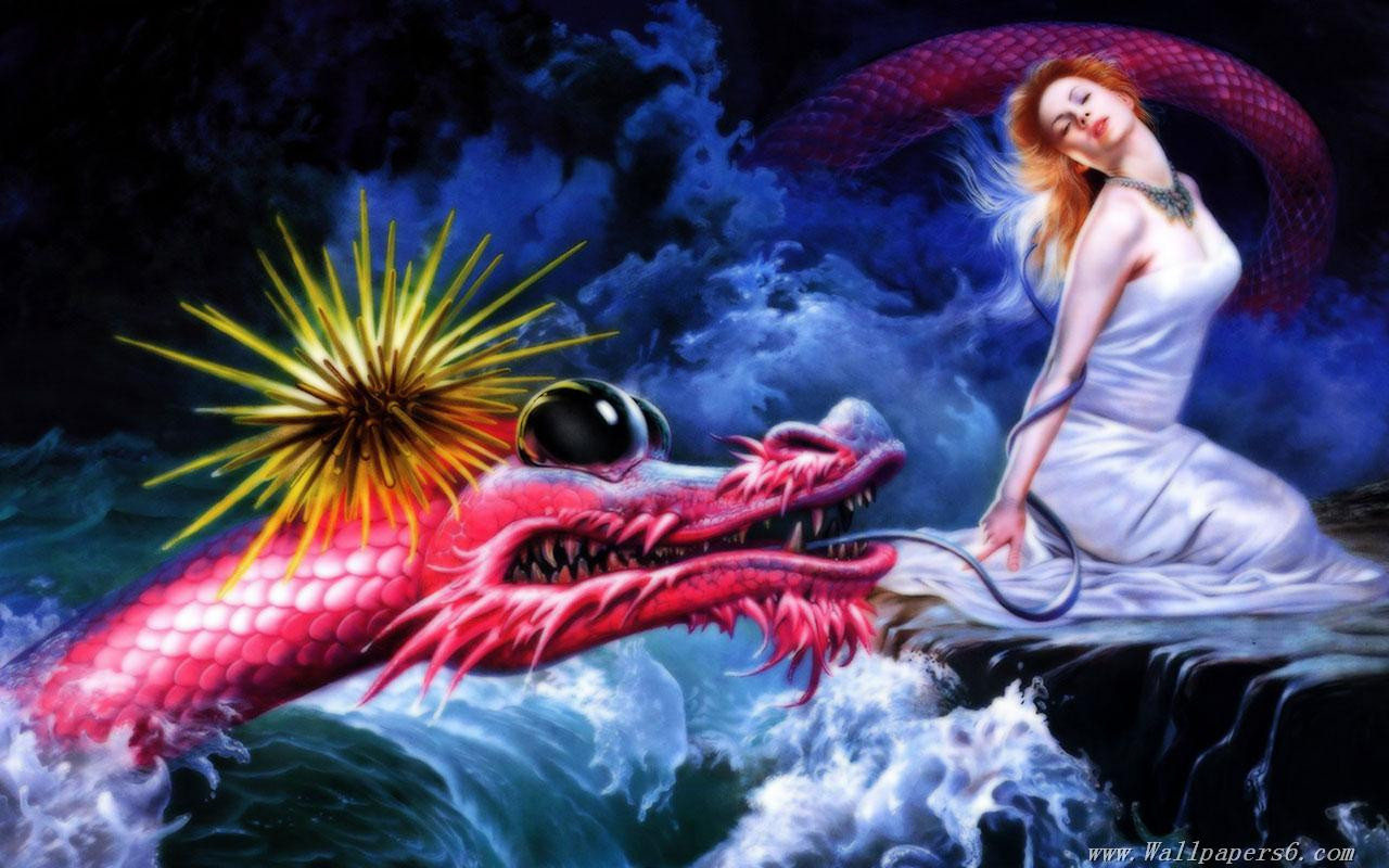 dragon and beauty Fantasy Wallpapers   download wallpapers 1280x800