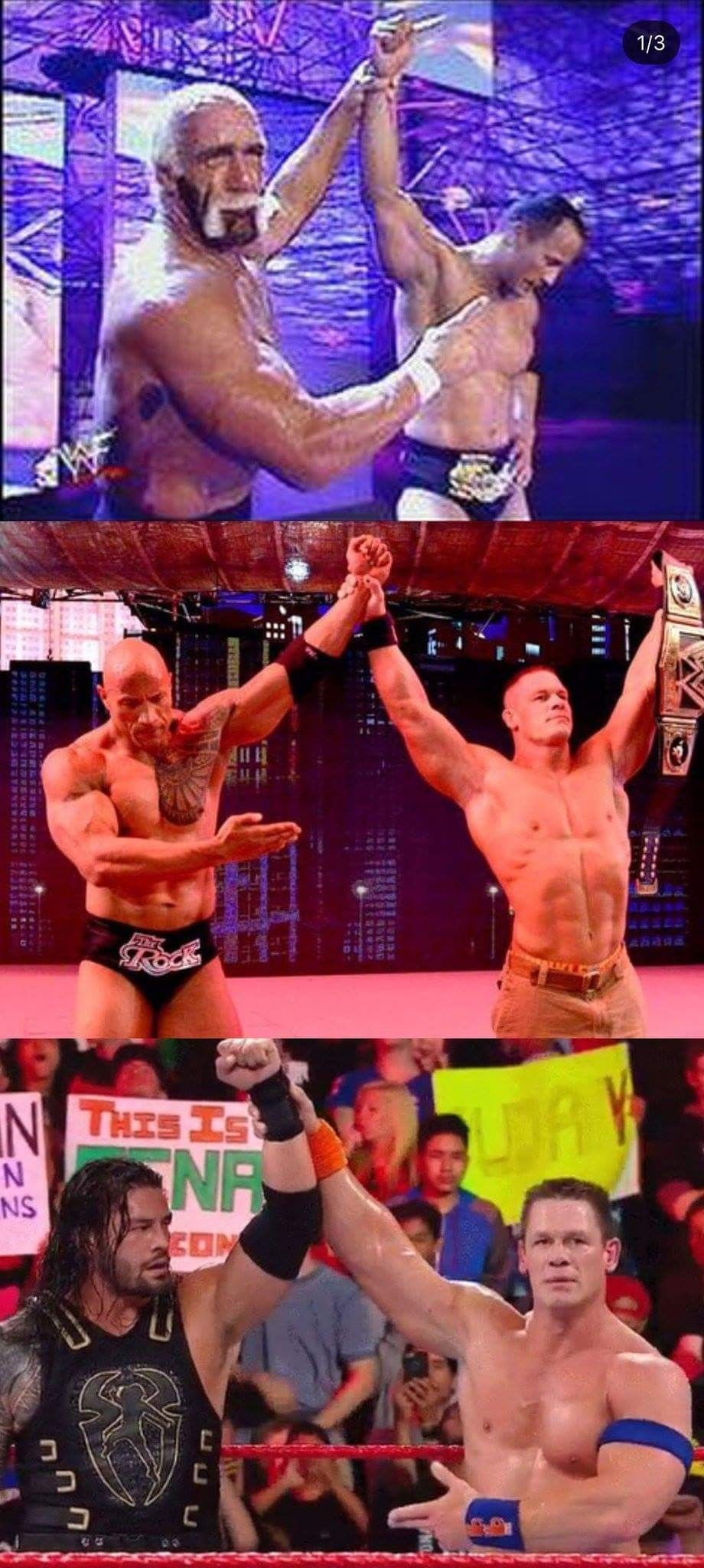 The evolution of passing the torch Hulk Hogan The Rock John 920x2048