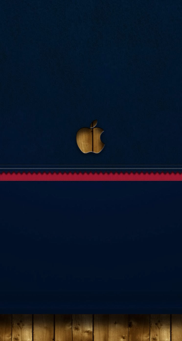 iPhone 6 Wallpaper Blue apple logo wood parallax 744x1392