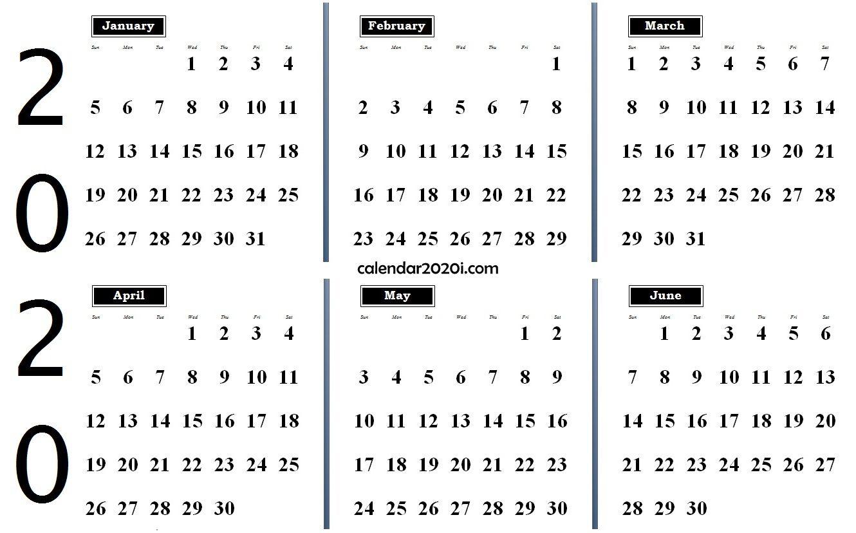 2020 6 Months Calendar from January to June Monthly calendar 1330x828