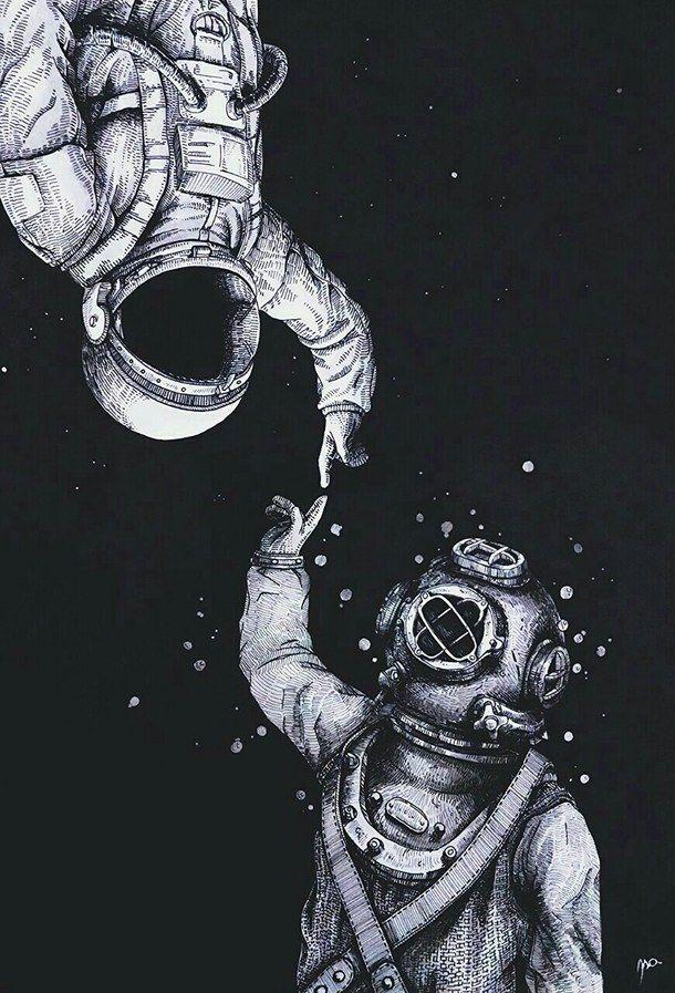 art astronauts backgrounds cute indie mercury moon night 610x897