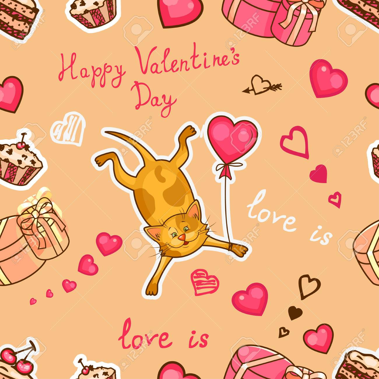 Seamless Valentine Background With Cute Cat Use It For Childrens 1300x1300