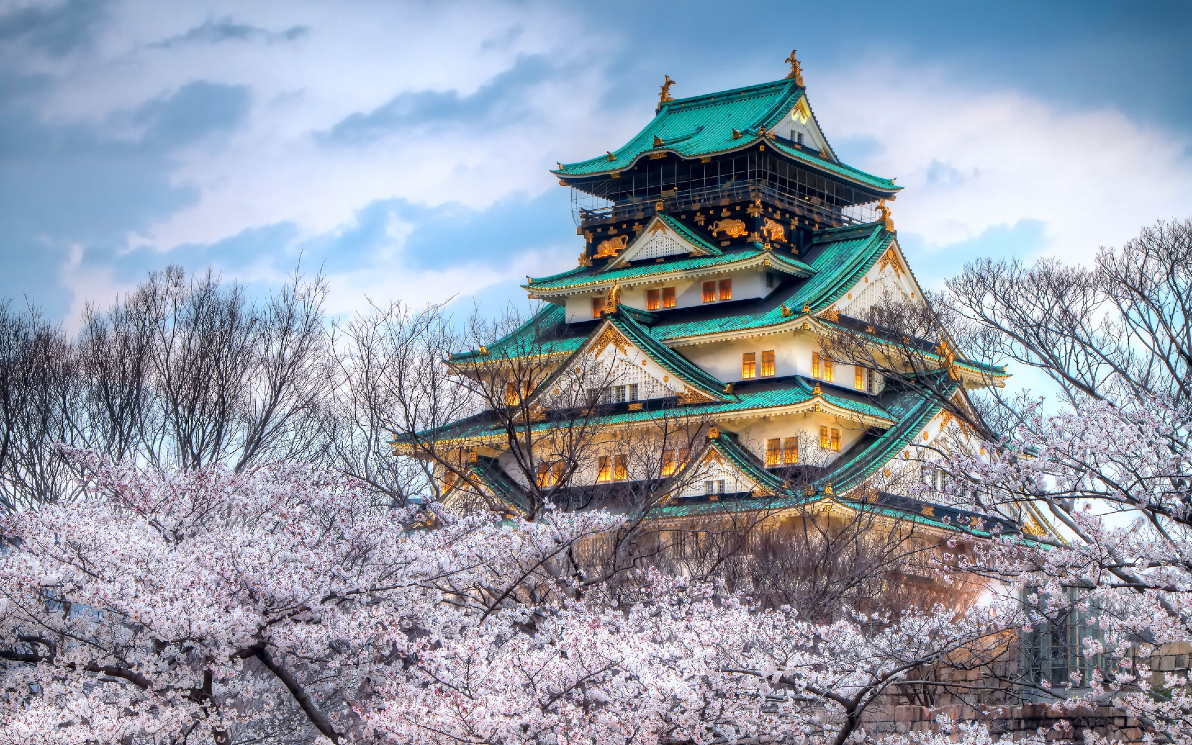 Download Wallpaper 3840x2400 City Japan Temple Sky Spring Cherry 3840x2400