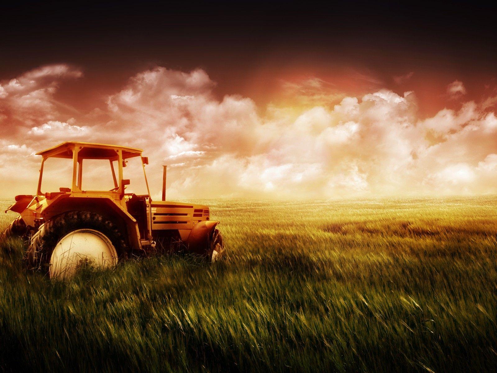 Neat Tractors Old farm Sunrise landscape 1600x1200