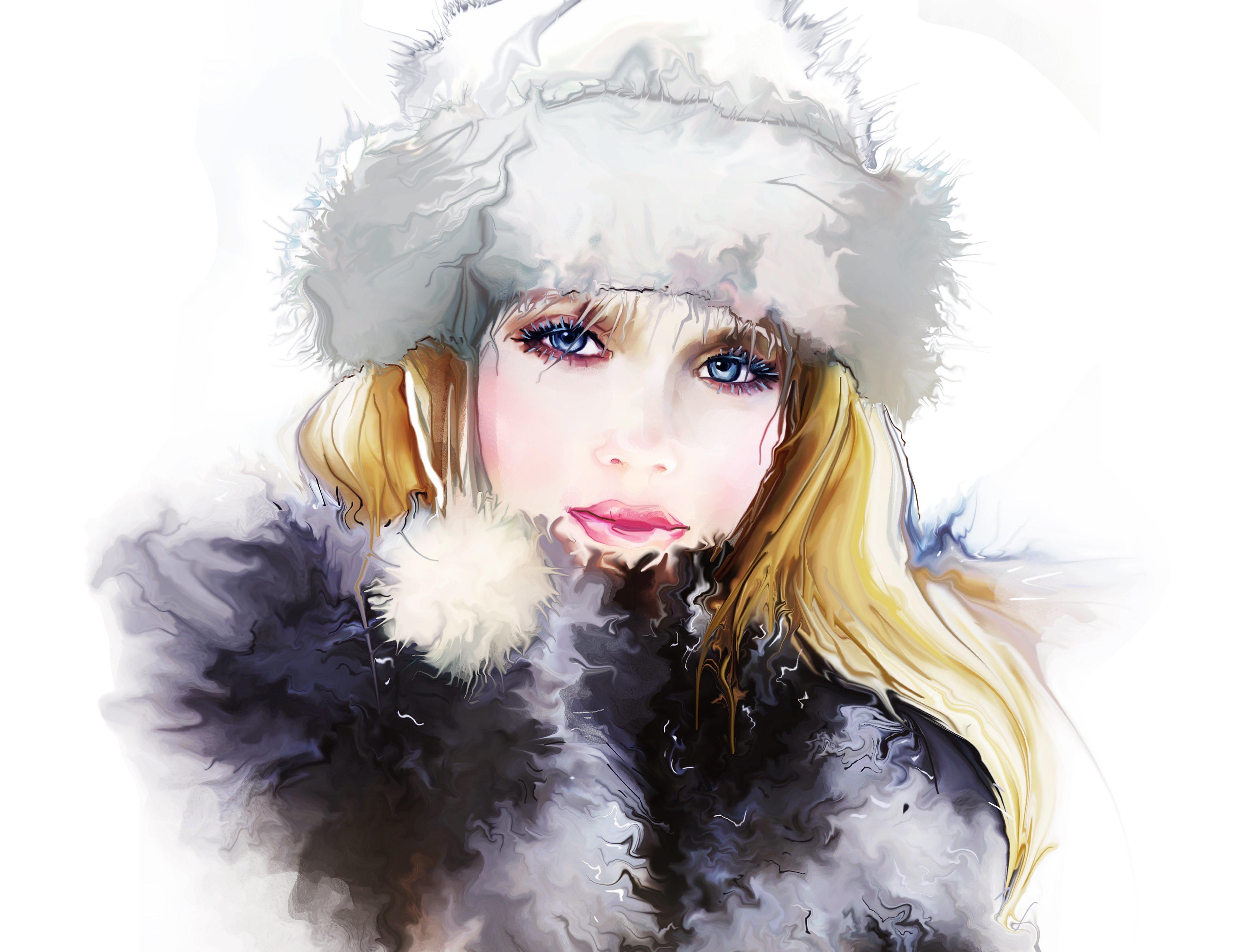 painting hd watercolor Tatiana Nikitina girl fur hat coat winter 3875x2975