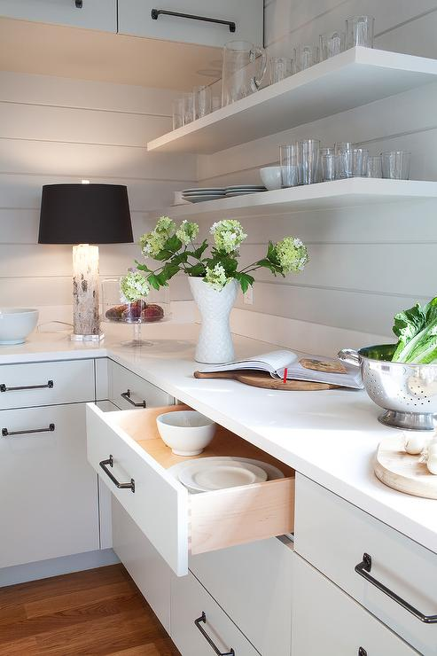 Kitchen with Shiplap Backsplash   Cottage   Kitchen 493x740