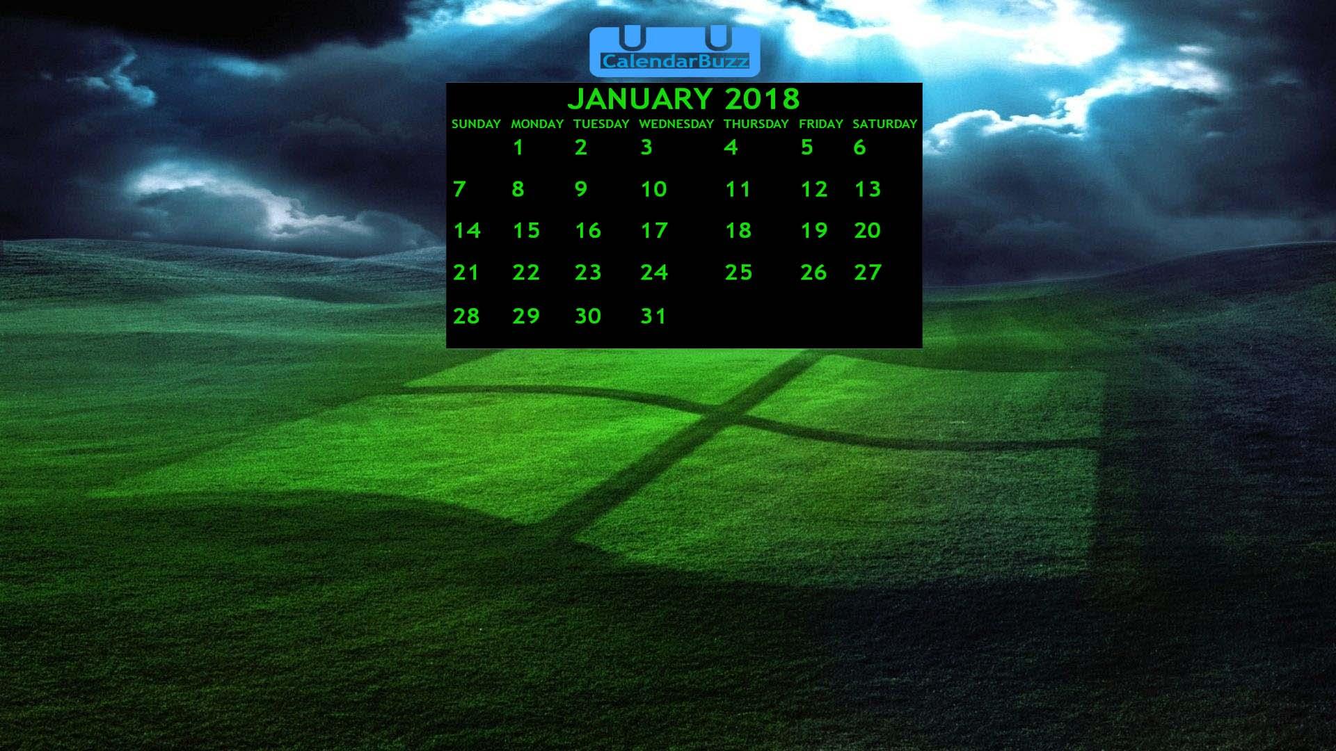 January 2018 Calendar Wallpaper CalendarBuzz 1920x1080