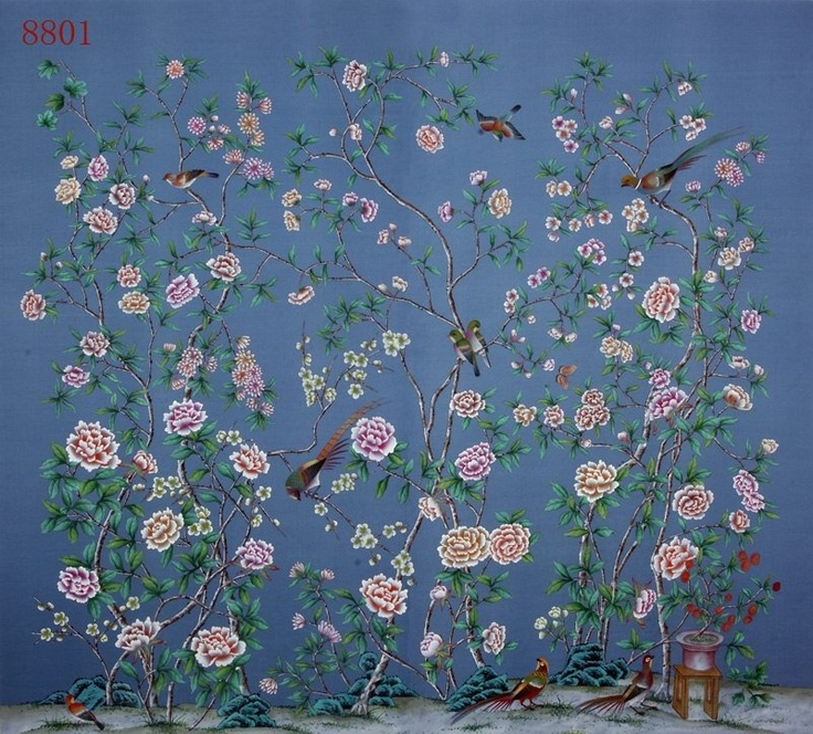 hand painted wallpaper silk wih rice paper back more behang hand hand 736x664