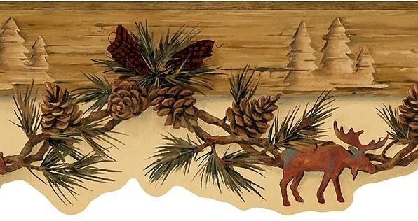 Moose Bear Swag Red Bow Wallpaper Border eBay 596x316