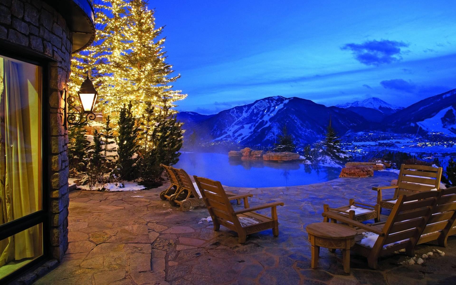 nice view Wallpaper tags winter christmas tree lights snow villa 1920x1200