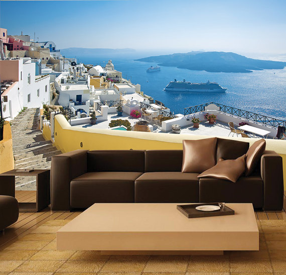 MURAL Santorini Greece Wall Paper Self Adhesive Wall Covering Peel 570x548