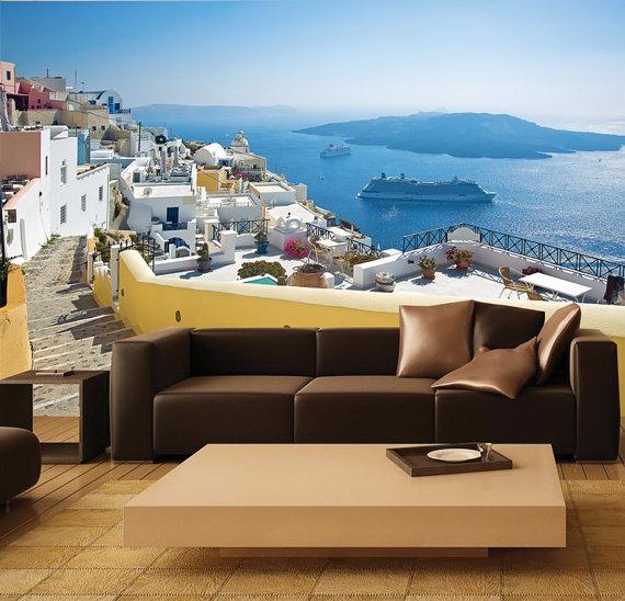 MURAL Santorini Greece Wall Paper Self Adhesive Wall Covering Peel 570x548