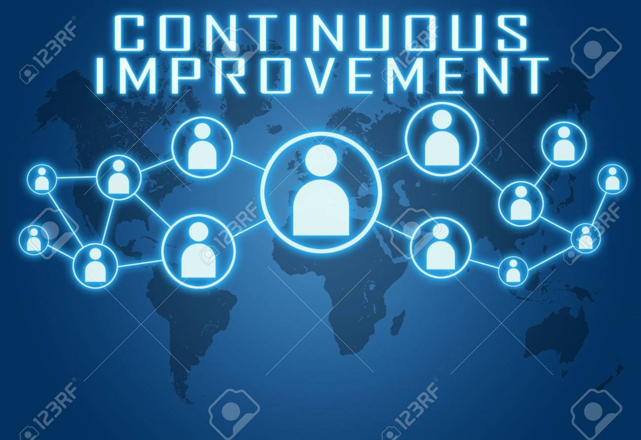 Continuous Improvement Concept On Blue Background With World 1300x893