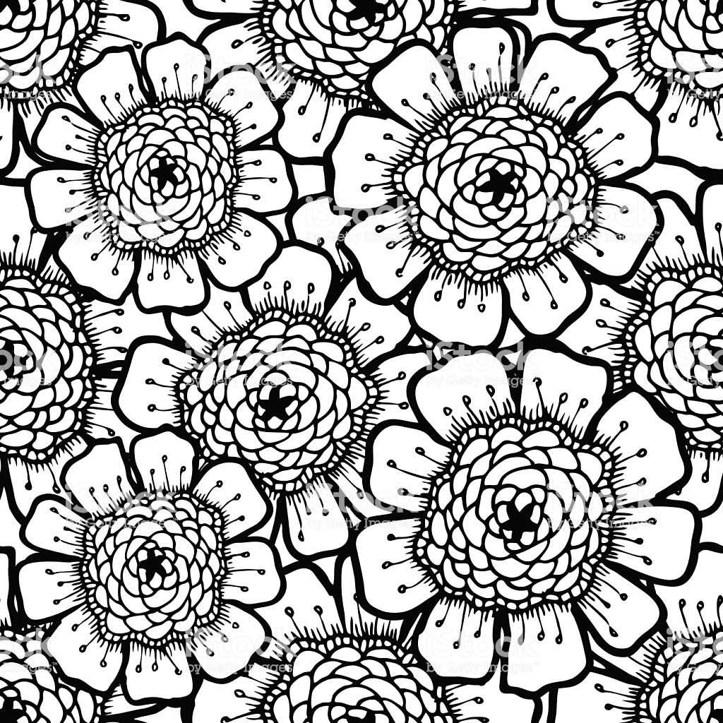 Ornate Floral Pattern With Flowers Doodle Sharpie Background Black 1024x1024