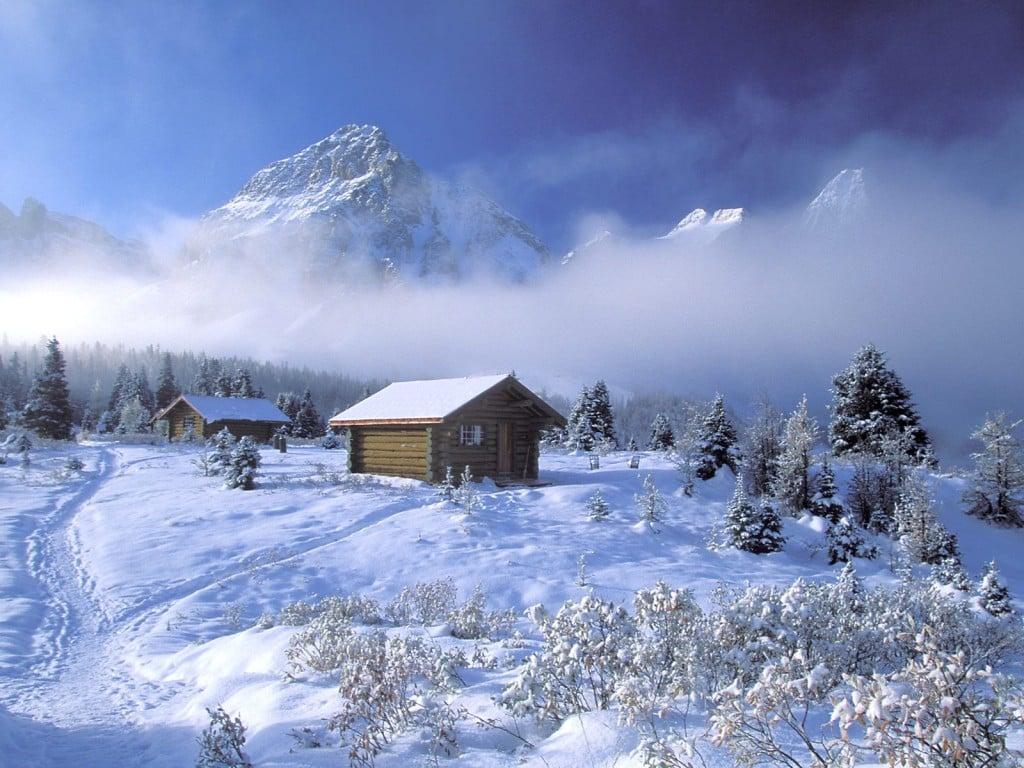 Winter Cabin In The Mountains Desktop Wallpaper 1024x768 pixel 1024x768