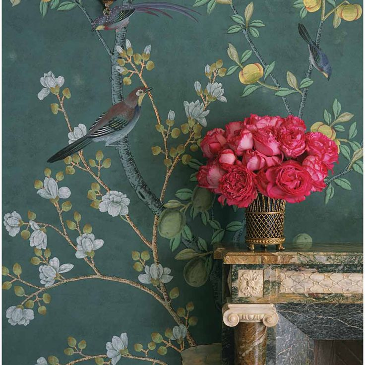 Wallpapers De Gournay Fresh Flower Chinoiserie Chic Charlotte Moss 736x736