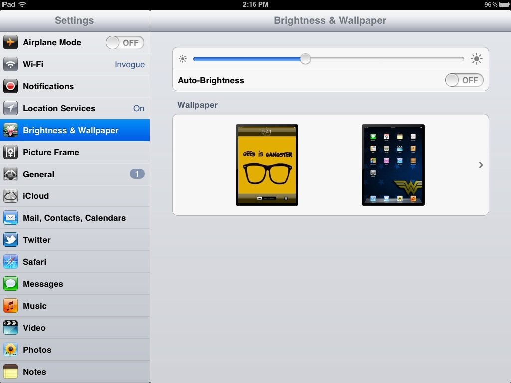 To set your iPads brightness go to Settings Brightness Wallpaper 1024x768