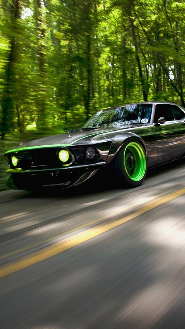 Green Hot Rod Mustang iPhone 5 Wallpaper 640x1136 640x1136