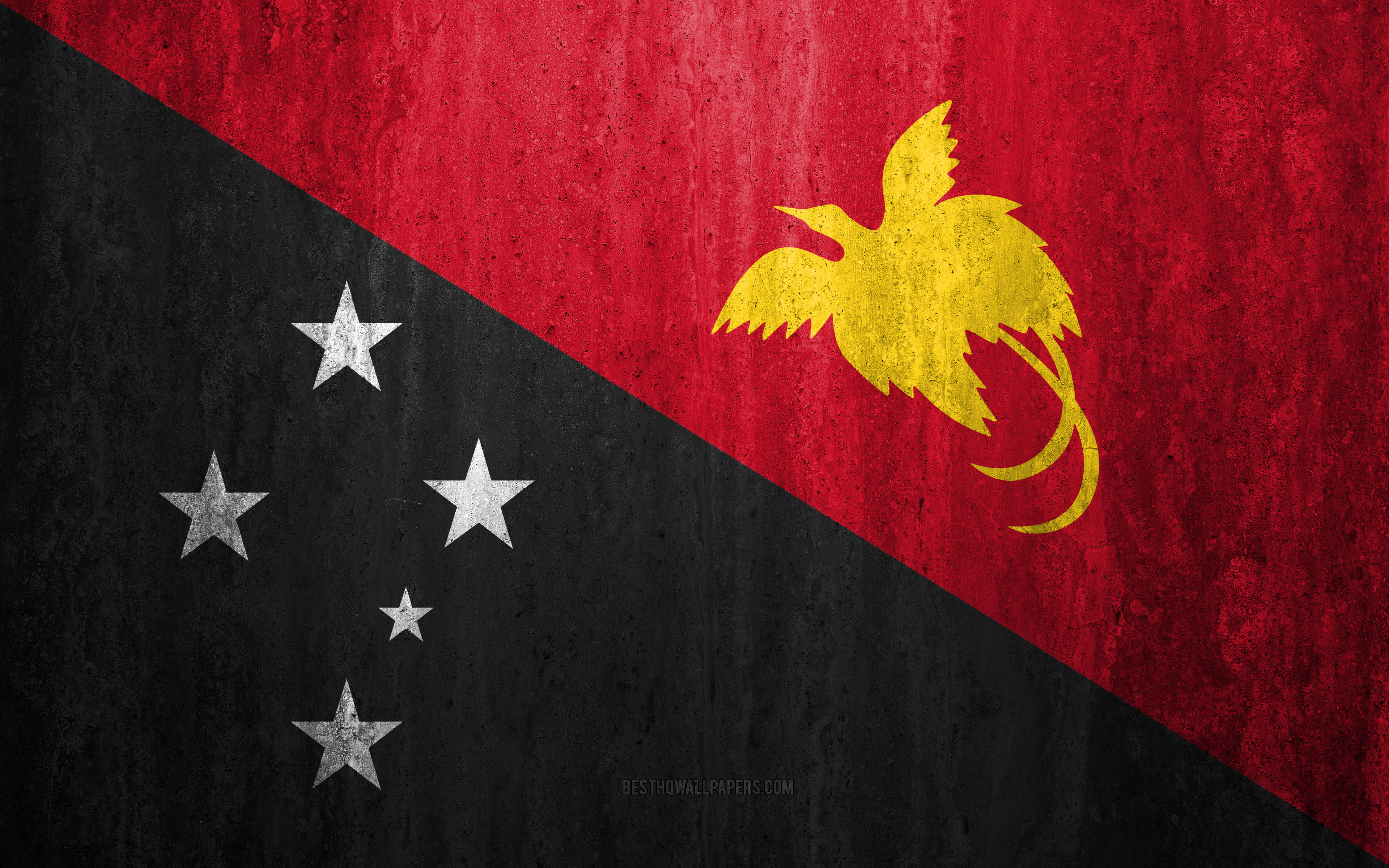 Download wallpapers Flag of Papua New Guinea 4k stone background 3840x2400