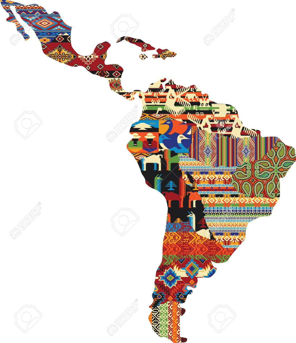 Central And South America Patchwork Map Native Fabric Pattern 1123x1300