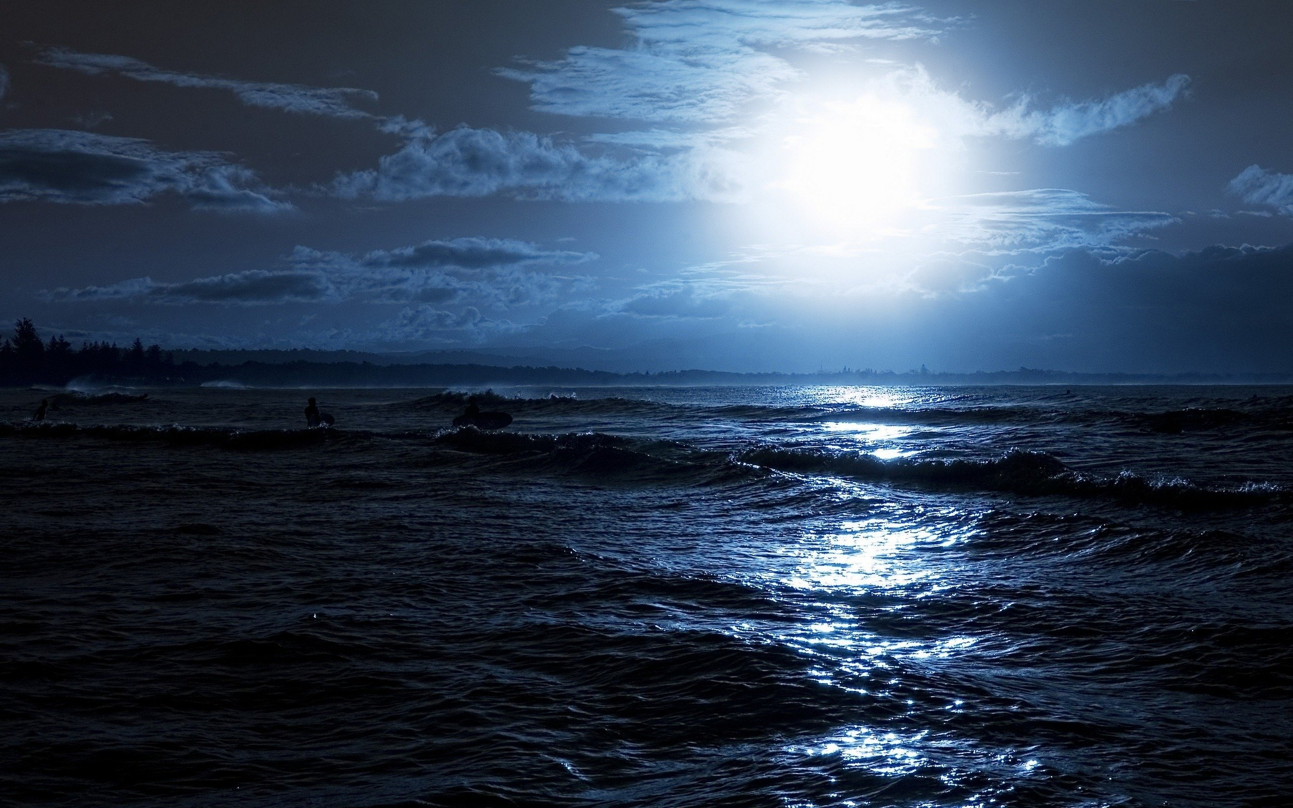 Wallpaper moon sea night clouds wave desktop wallpaper Nature 2560x1600