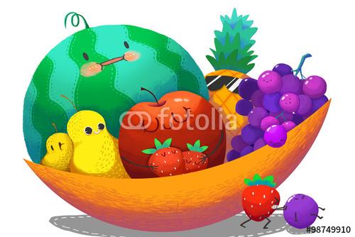 Illustration For Children The Fruit Family in the Big Fruit Bowl 500x334