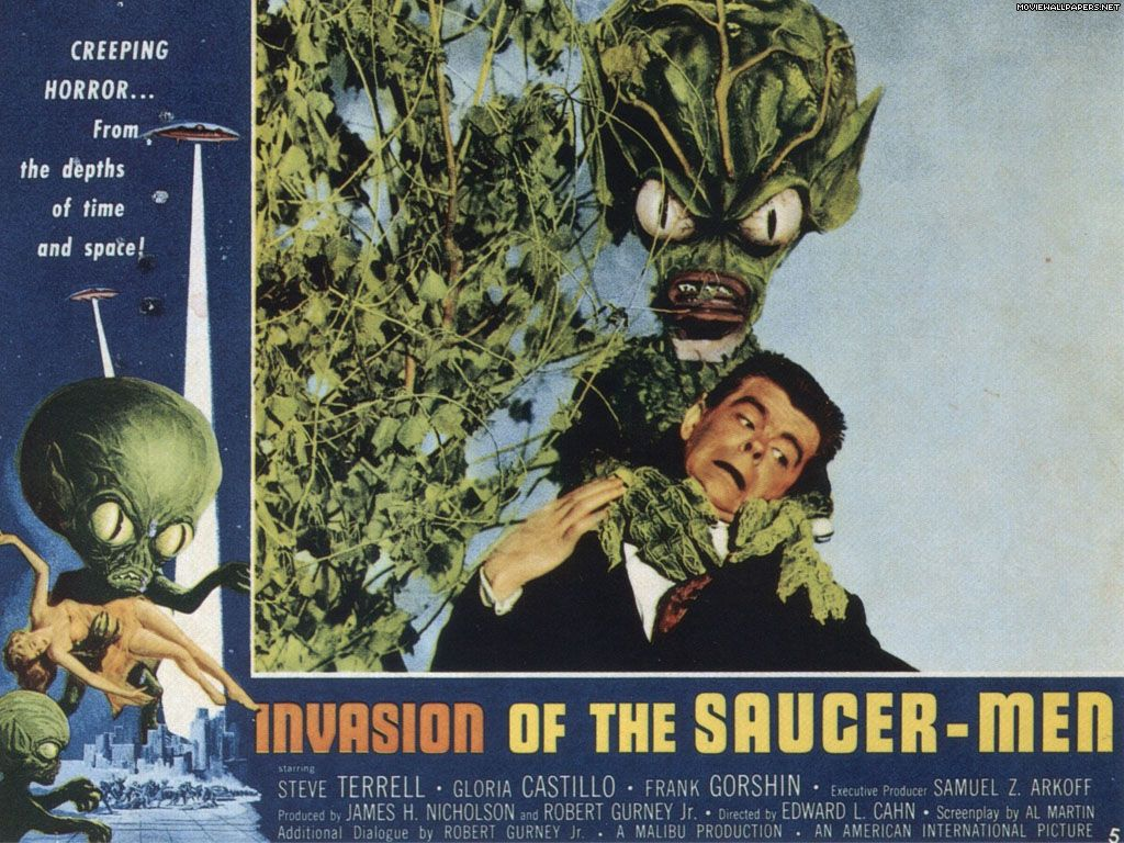 Invasion of the Saucer Men poster 1950s aliens Science fiction 1024x768