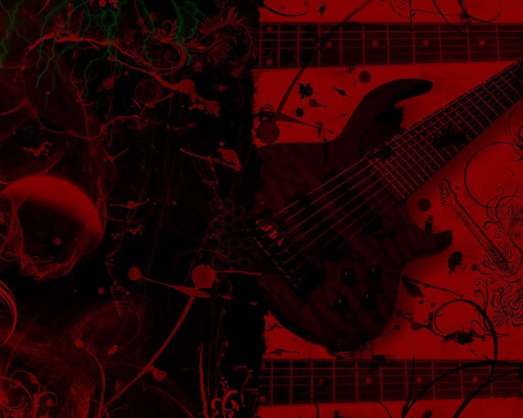 yellowcard red guitar   Guitar Wallpaper 1024x819
