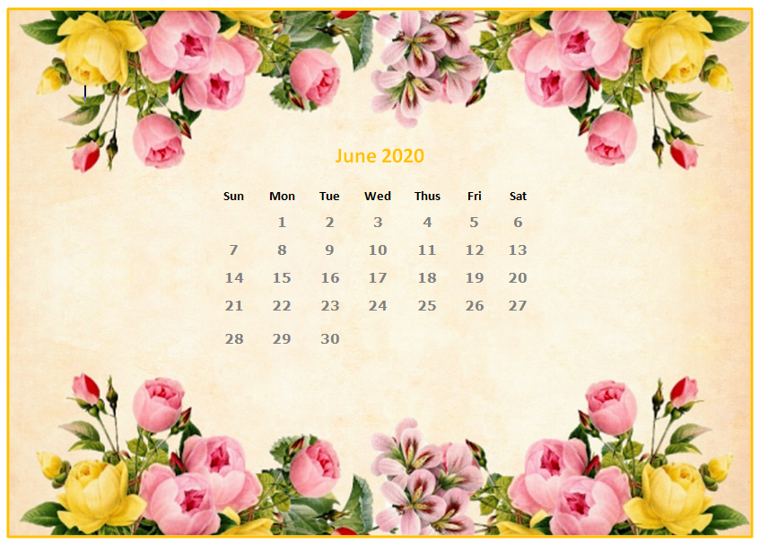 Cute June 2020 Wall Calendar Floral Wallpaper Printable Template 846x605