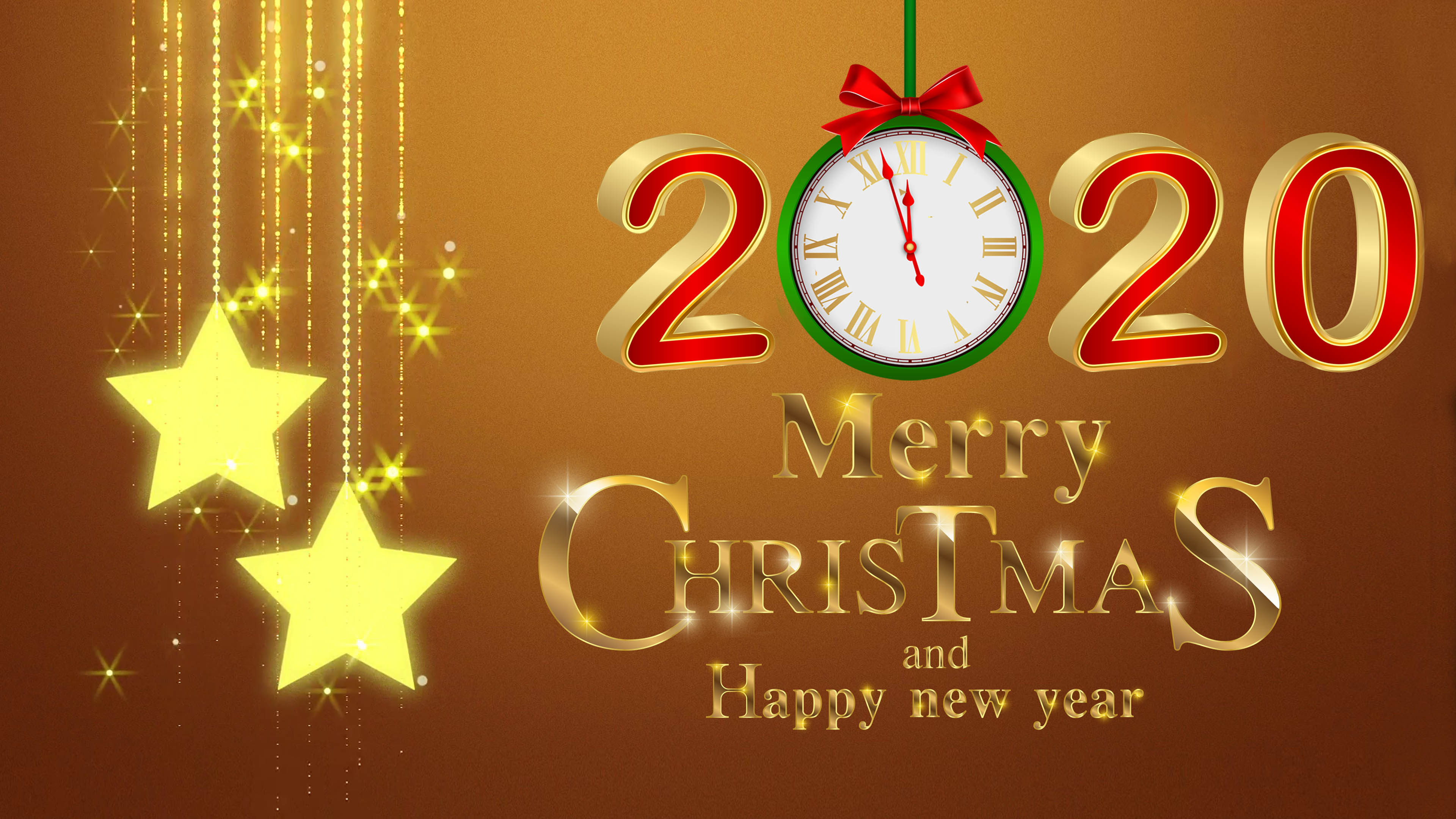 Merry Christmas And Happy New Year 2020 Gold 4k Ultra Hd Desktop 3840x2160