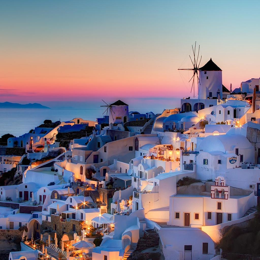 Night in Santorini iPad Wallpapers Download 1024x1024