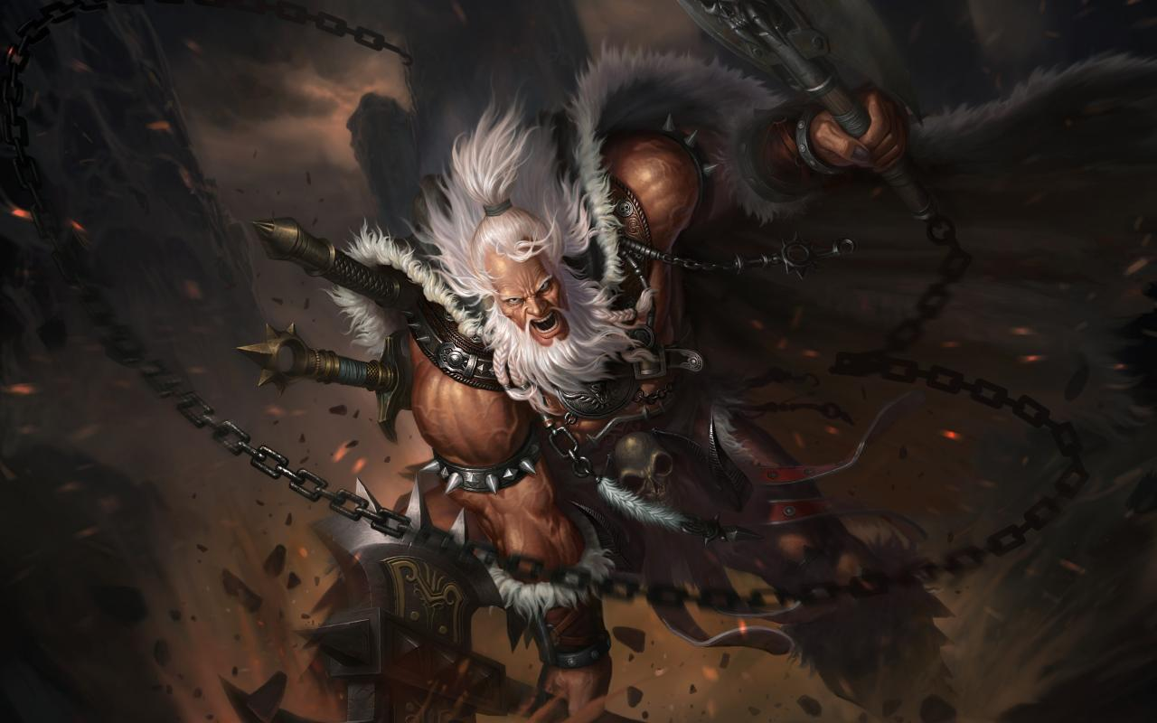 Heroes barbarian axes artwork diablo iii characters wallpaper 11787 1280x800