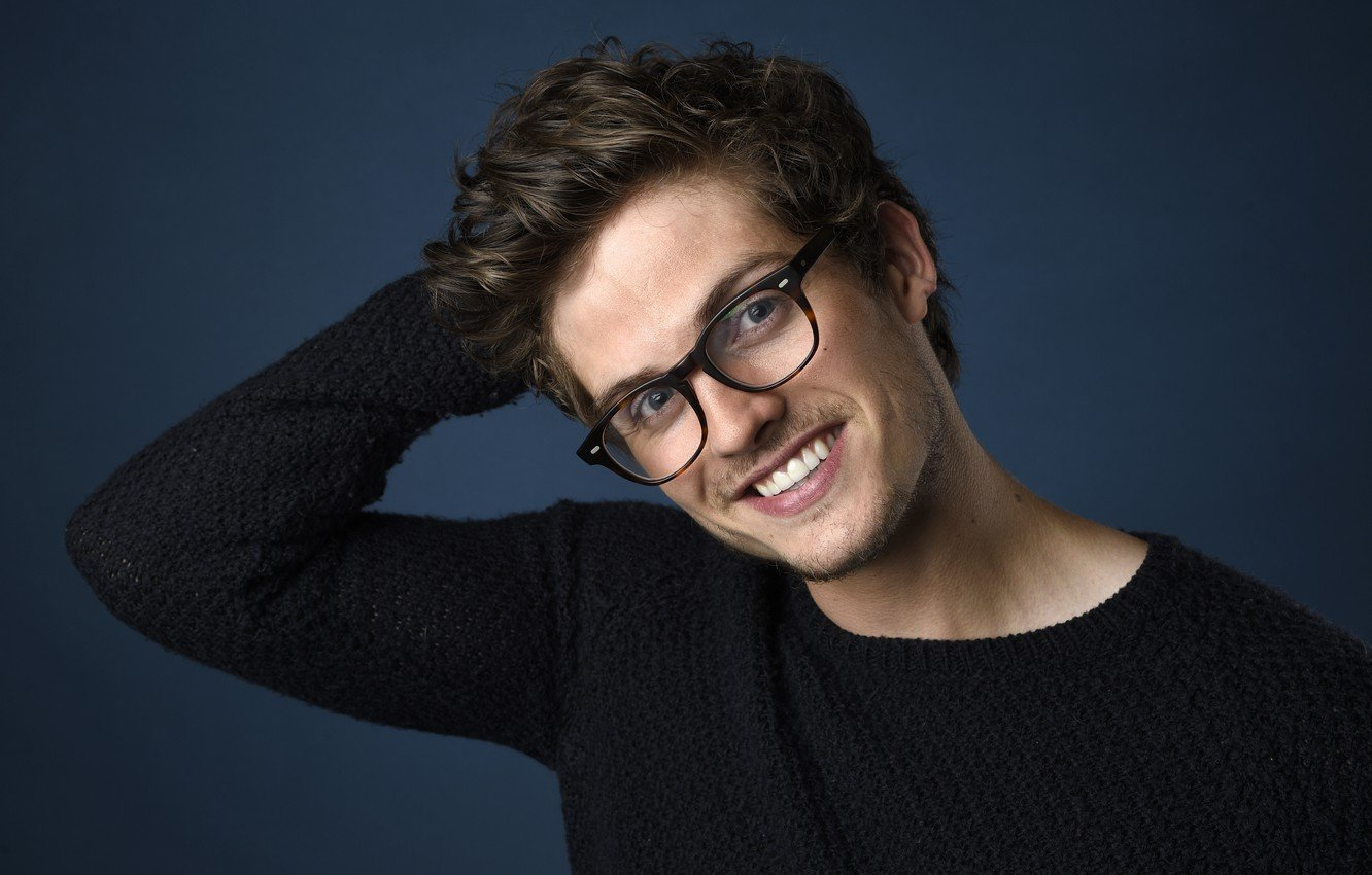 Wallpaper smile glasses actor Daniel Sharman images for desktop 1332x850