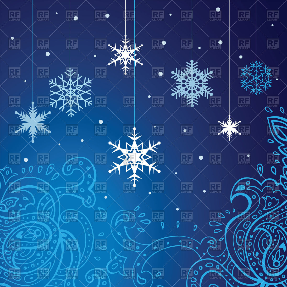 Blue festive winter background   snowflakes and ornament Vector 1200x1200