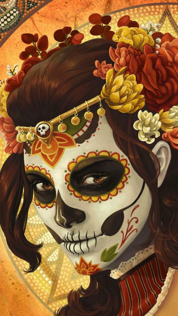 Girl Skull Mask Art Wallpaper   iPhone Wallpapers 576x1024