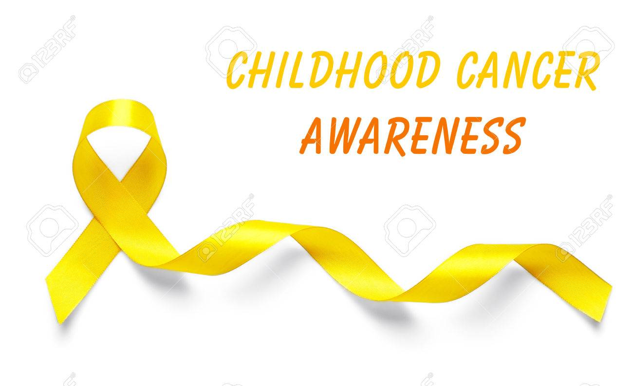 Yellow Ribbon And Text Childhood Cancer Awareness On Light 1300x793