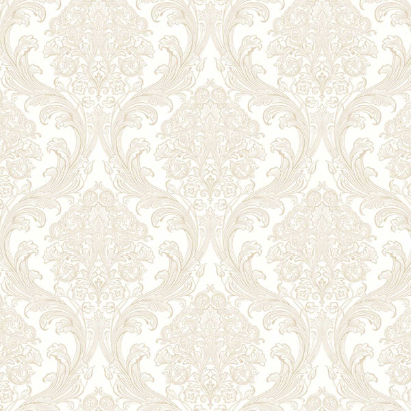 Free Download Cream With Gold Architectural Damask Wallpaper Wall