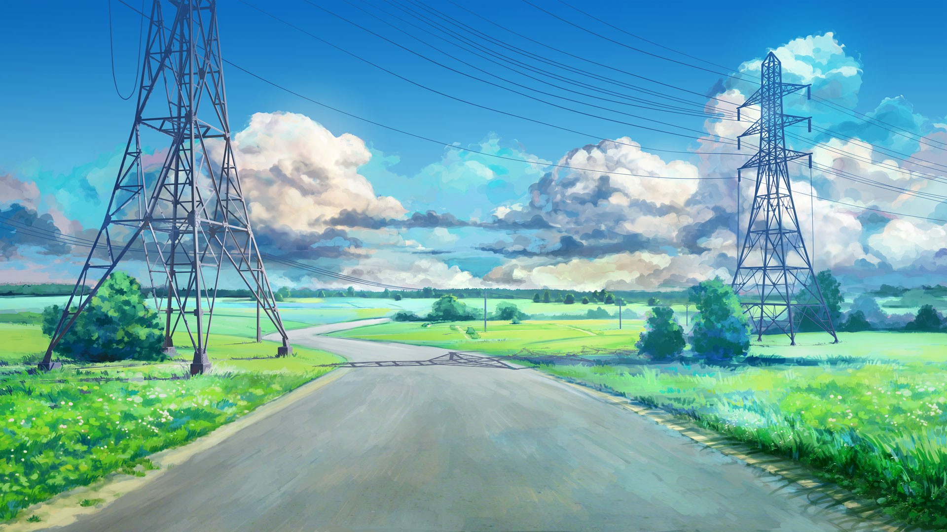 clouds Blue Green ArseniXC Anime Landscape Road Power Lines 1920x1080
