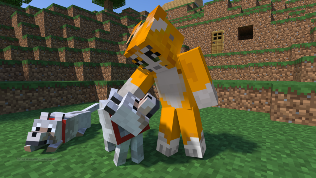 Minecraft Stampy Wallpaper Stampy and One of his Dogs [Minecraft 1024x576