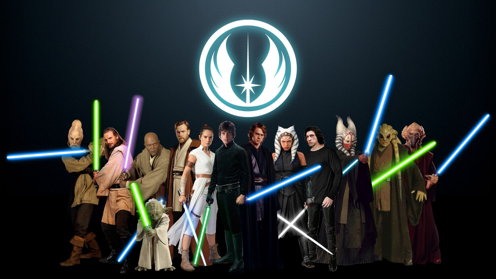 Jedi Wallpaper I made using various official and unofficial art 1986x1117