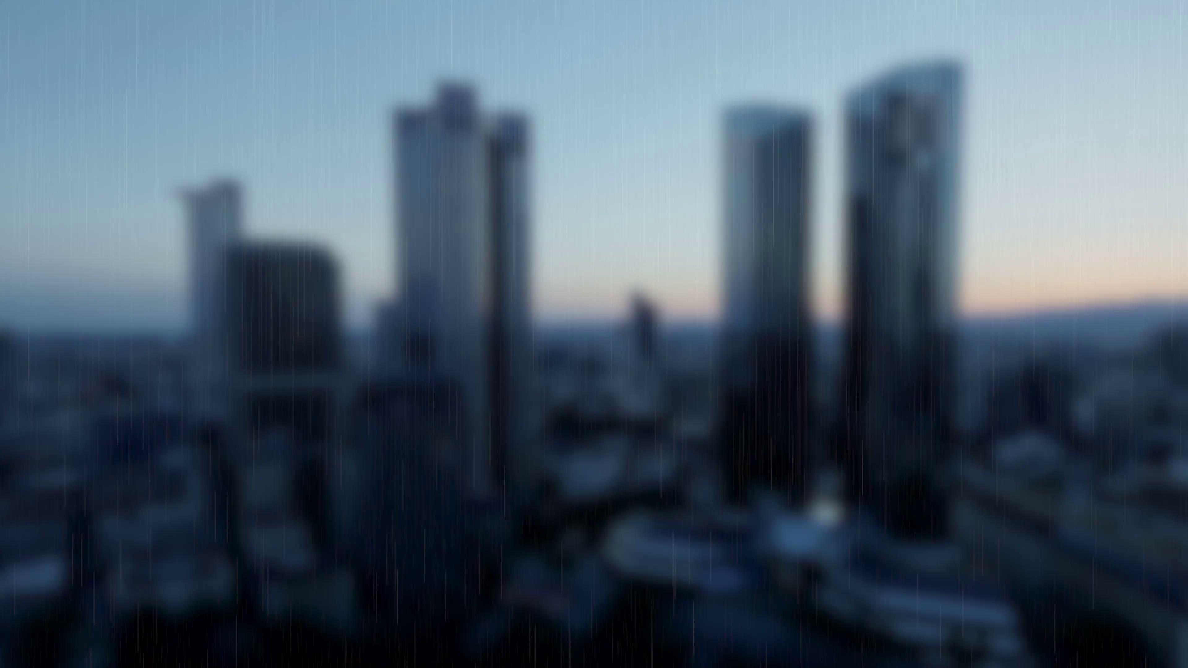 rainy day rain raining blurred background skyline skyscrapers 3840x2160