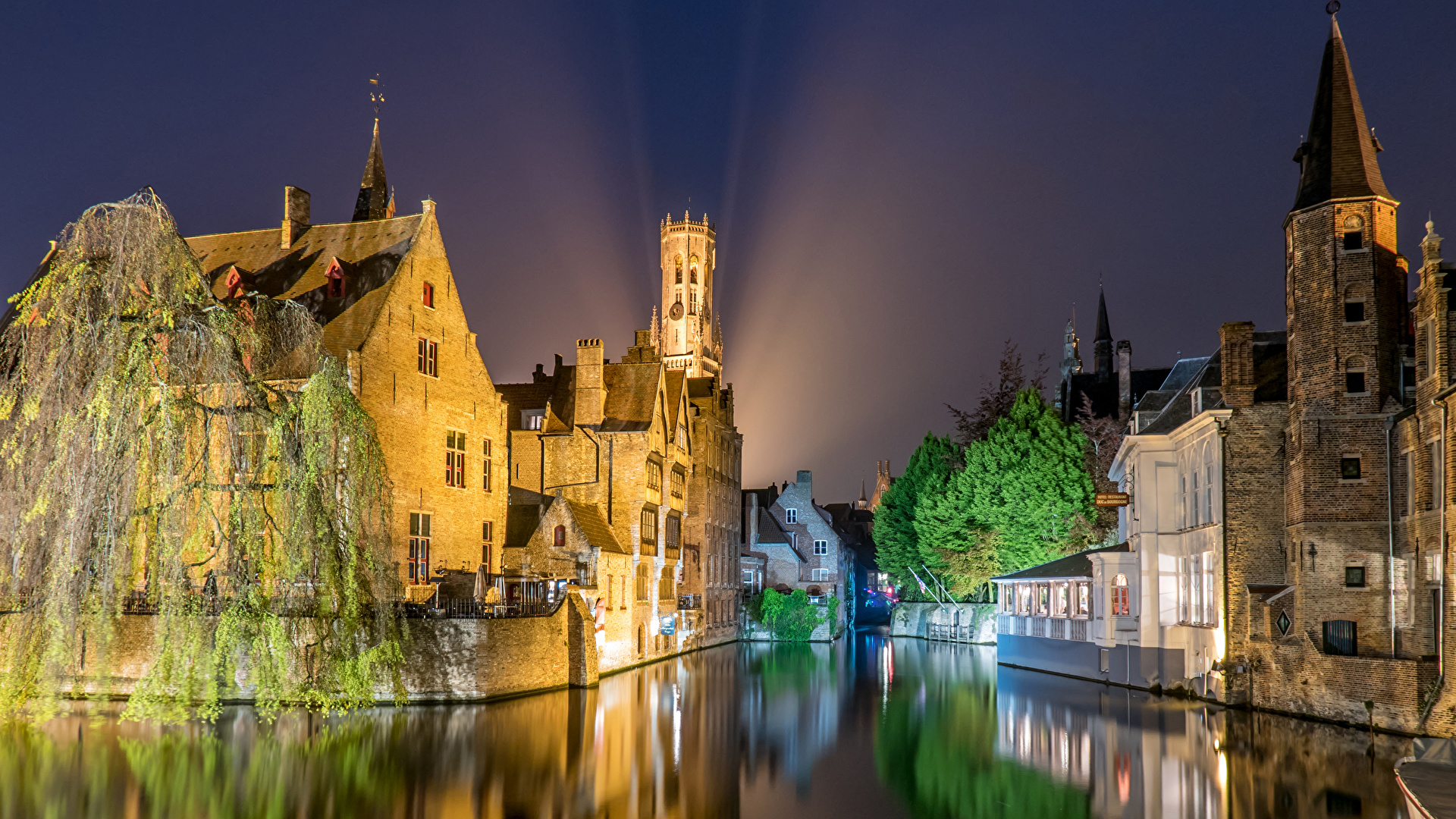Wallpaper Cities Belgium Bruges Rivers Houses night time 1920x1080 1920x1080