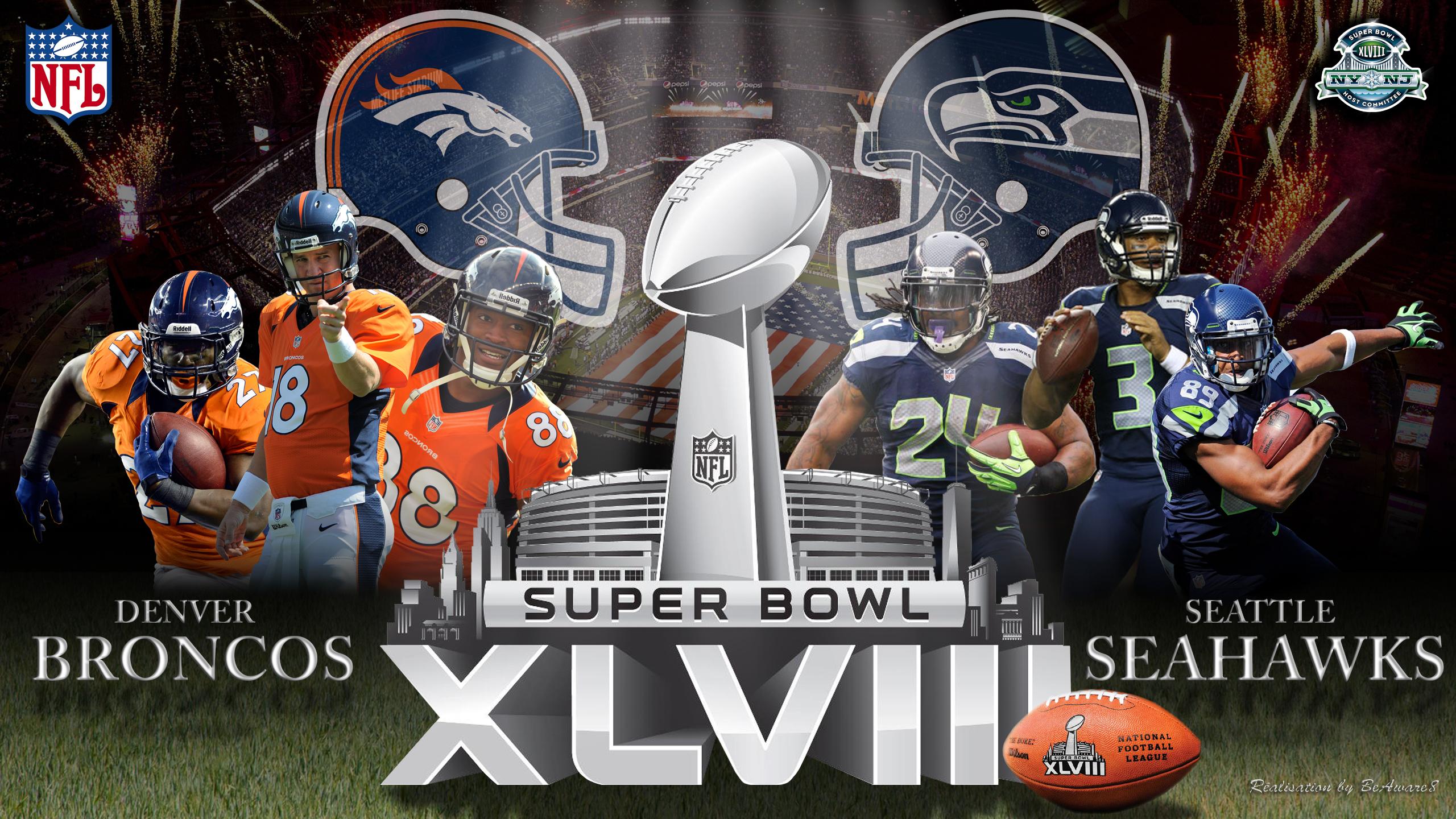 Seahawks vs Broncos Super Bowl 2560x1440