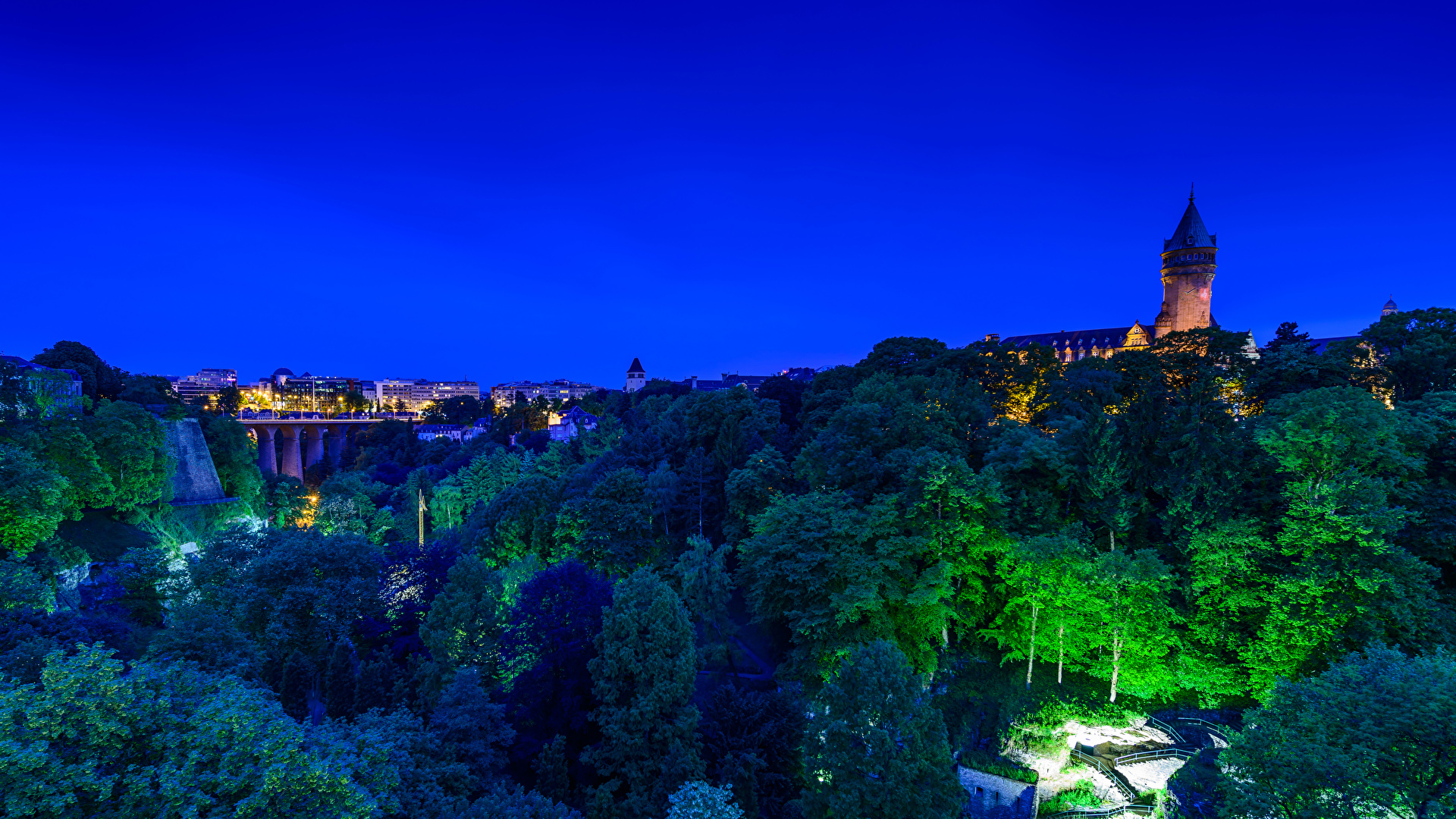 Wallpapers Luxembourg Bridges Castles night time Trees 1920x1080 1920x1080
