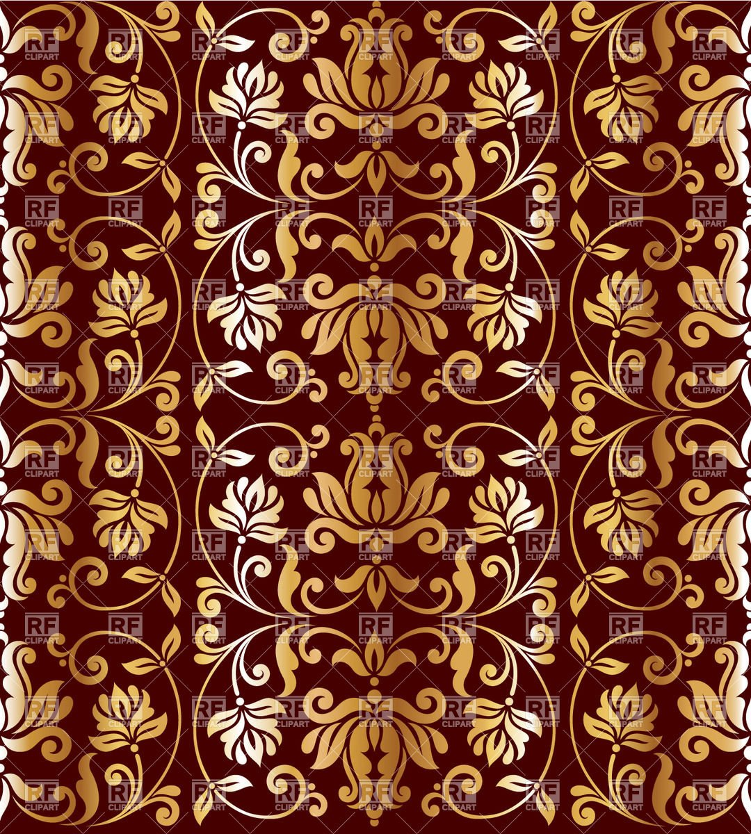 wallpaper with floral elements   golden retro ornament on burgundy 1080x1200