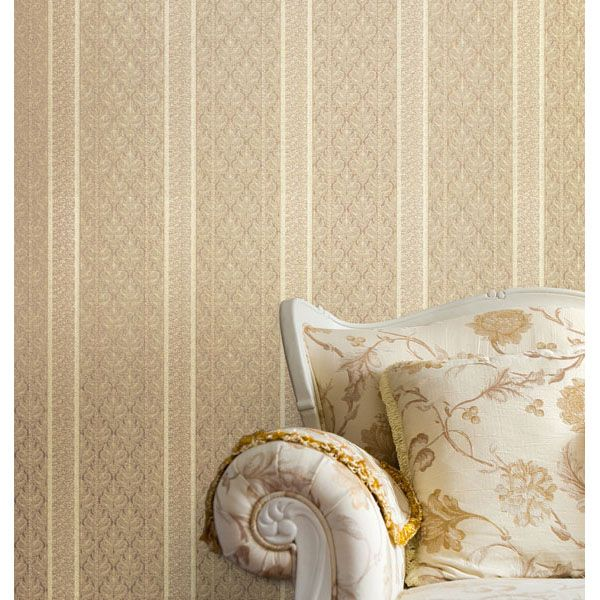2537 M3937 Beige Brocade Stripe   Ercole   Beacon House Wallpaper 600x600
