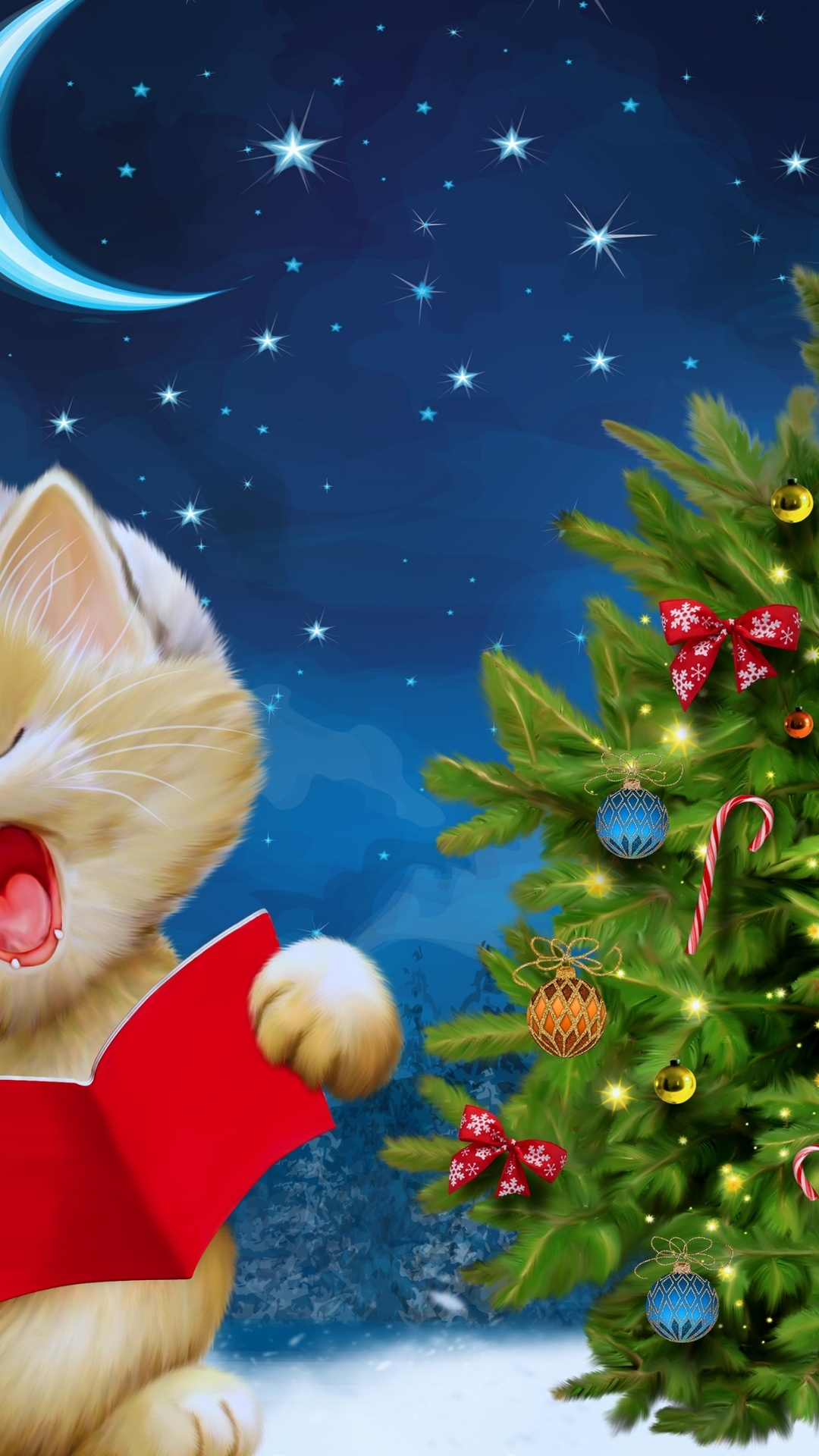 Merry Christmas kitten 4K Ultra HD wallpaper 4k WallpaperNet 1080x1920