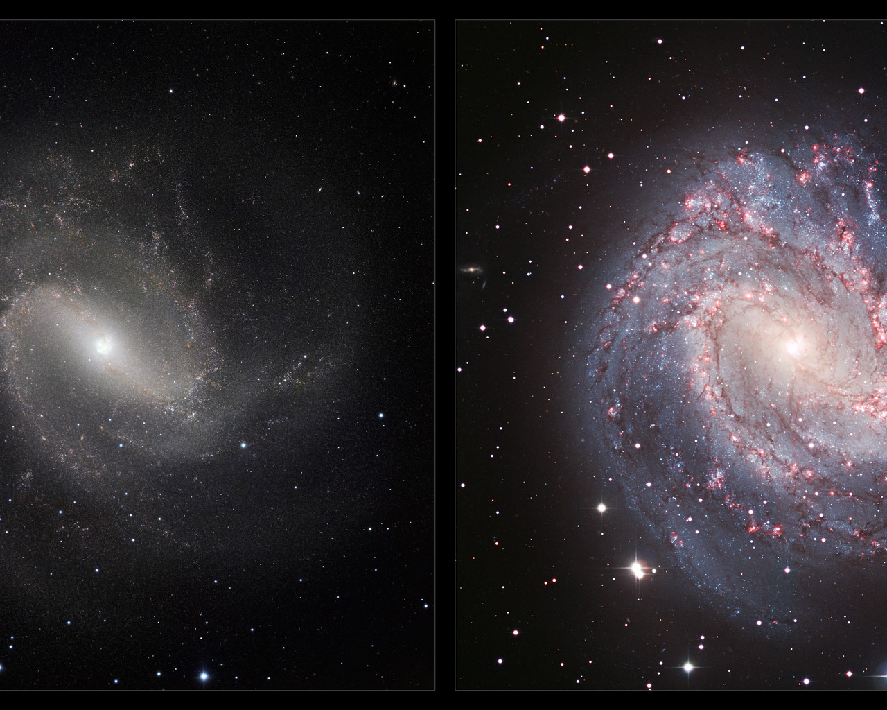 An infraredvisible comparison view of Messier 83 ESO 1280x1024