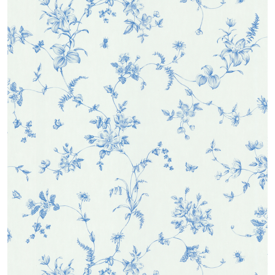 Blue Wallpaper With White Flowers